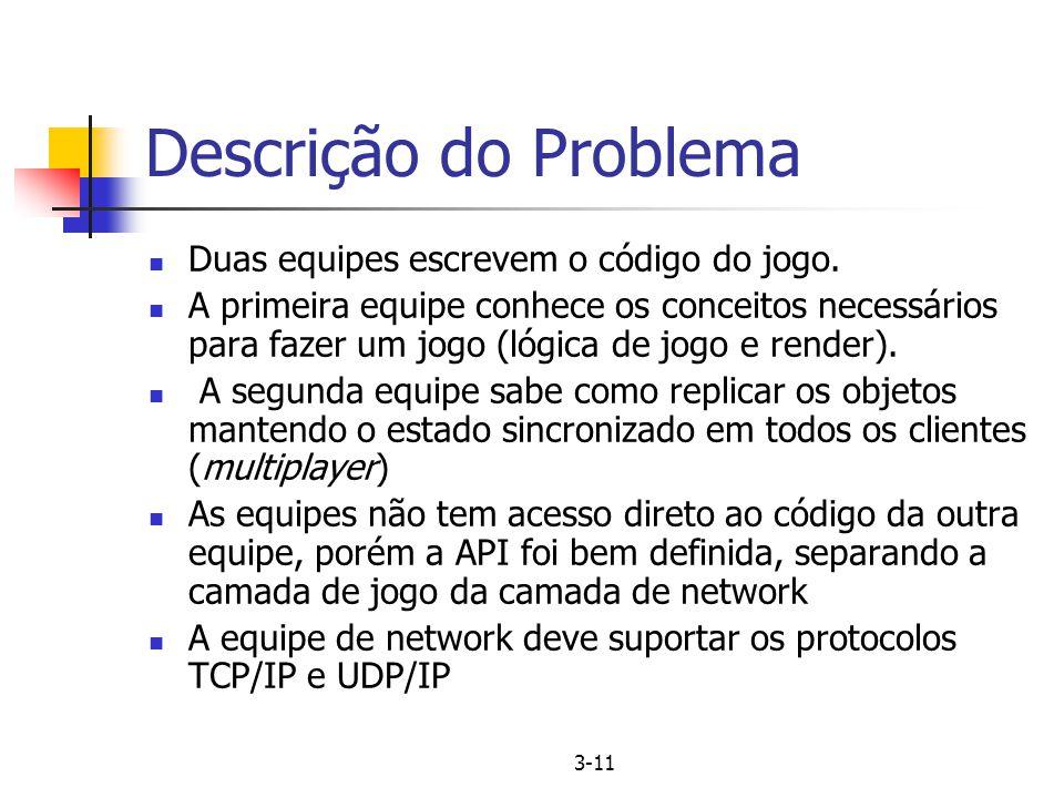 Descrição do Problema Duas equipes escrevem o código do jogo.