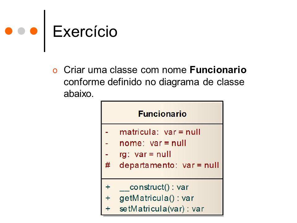 Exercício Criar uma classe com nome Funcionario conforme definido no diagrama de classe abaixo.