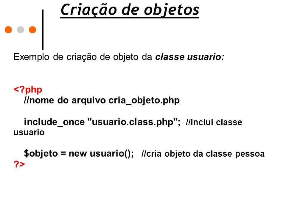 Criação de objetos Exemplo de criação de objeto da classe usuario: