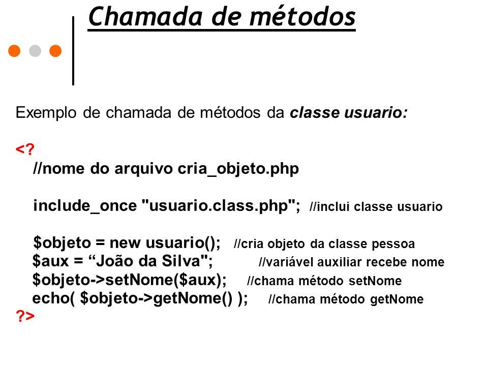 Chamada de métodos Exemplo de chamada de métodos da classe usuario: