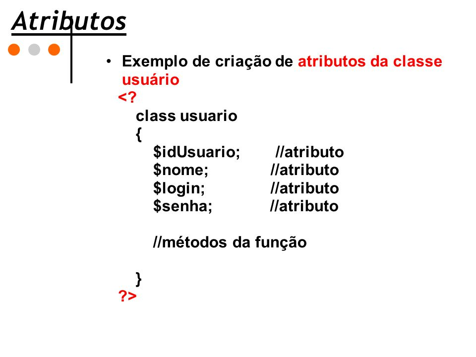 Atributos Exemplo de criação de atributos da classe usuário <
