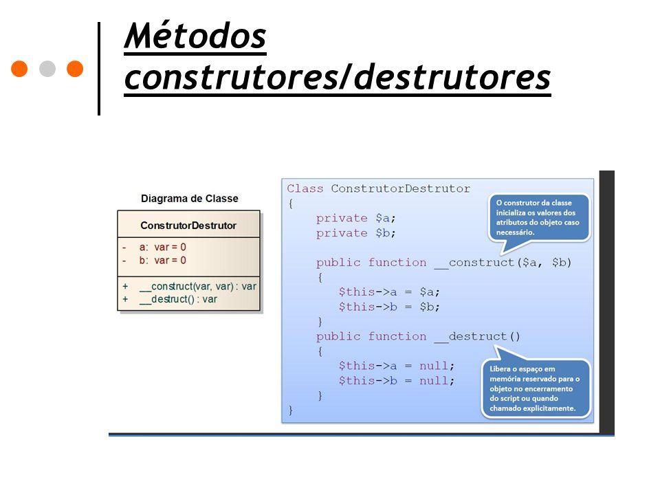 Métodos construtores/destrutores