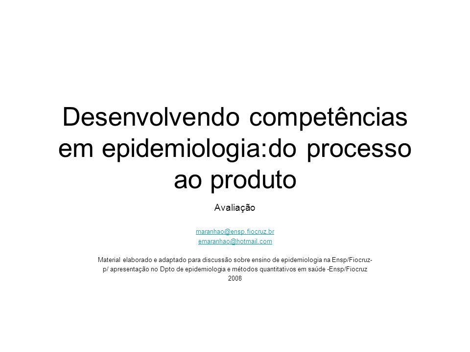 Desenvolvendo competências em epidemiologia:do processo ao produto