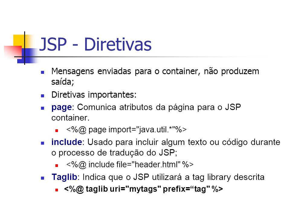 JSP - Diretivas Mensagens enviadas para o container, não produzem saída; Diretivas importantes: