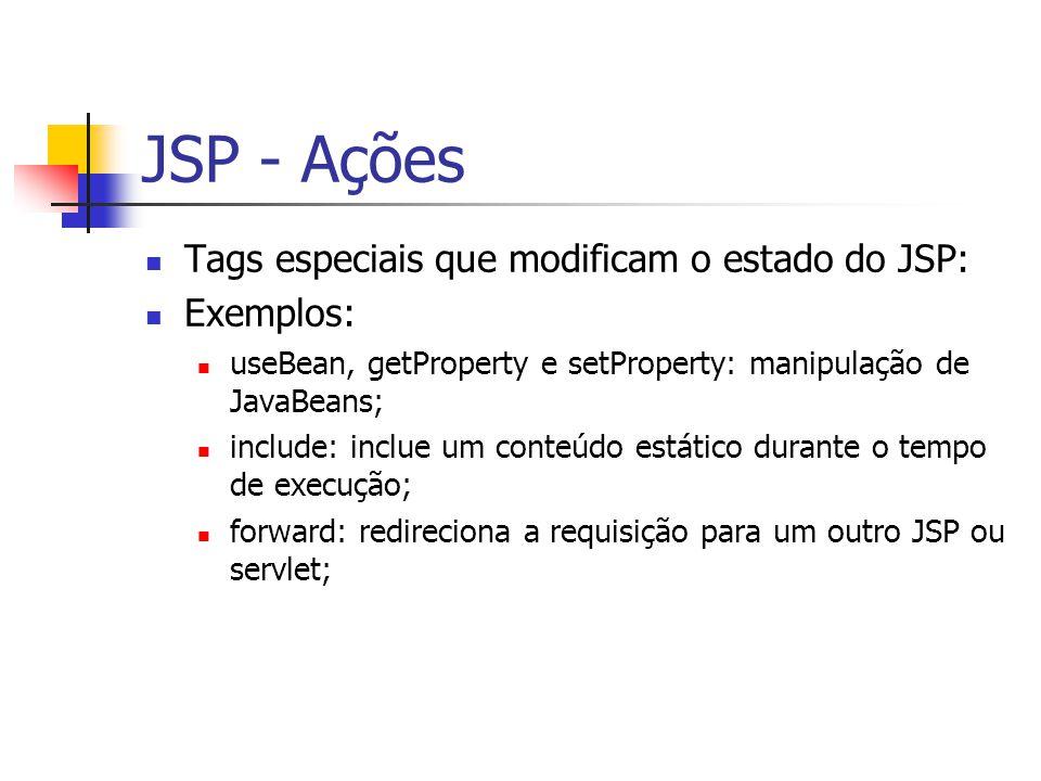 JSP - Ações Tags especiais que modificam o estado do JSP: Exemplos: