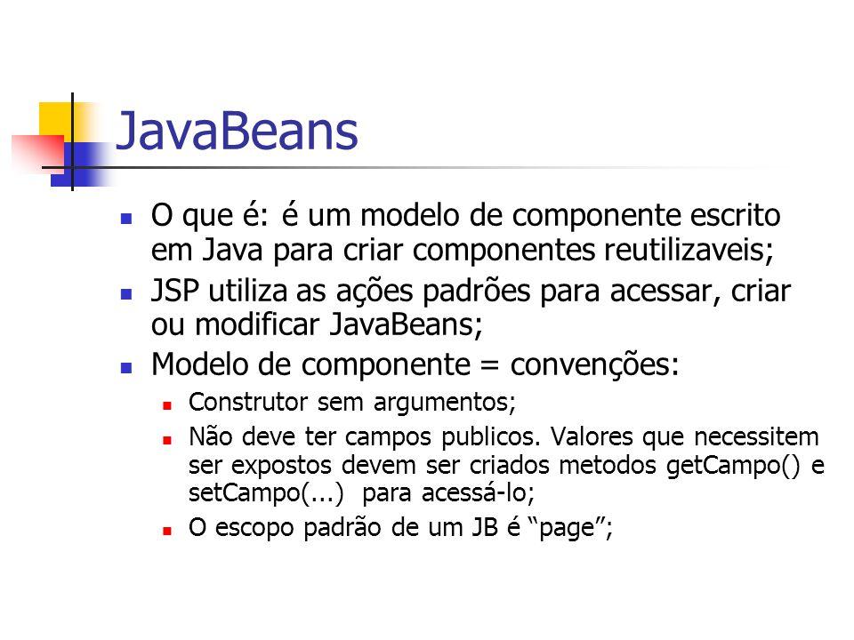 JavaBeans O que é: é um modelo de componente escrito em Java para criar componentes reutilizaveis;