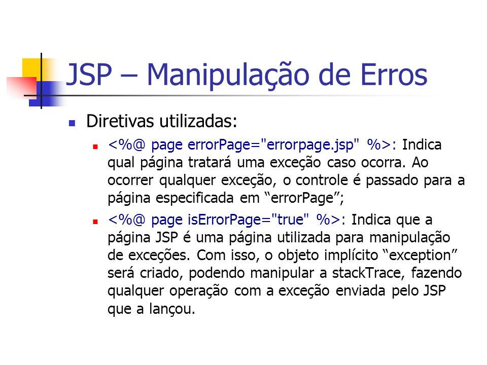 JSP – Manipulação de Erros