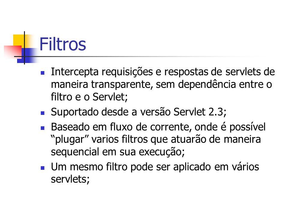 Filtros Intercepta requisições e respostas de servlets de maneira transparente, sem dependência entre o filtro e o Servlet;