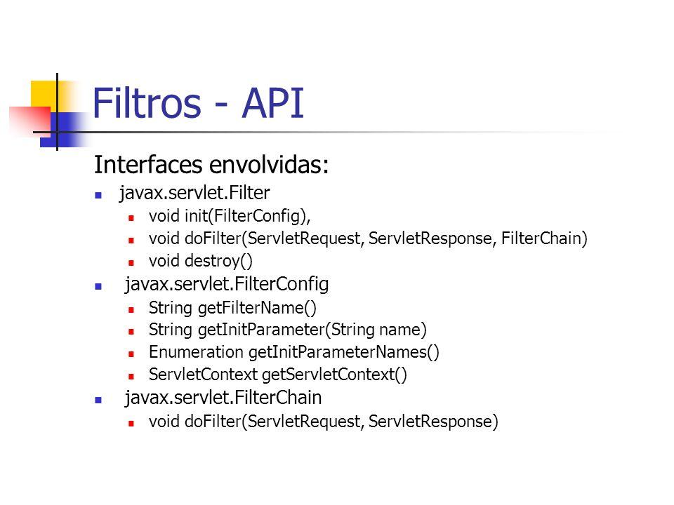 Filtros - API Interfaces envolvidas: javax.servlet.Filter