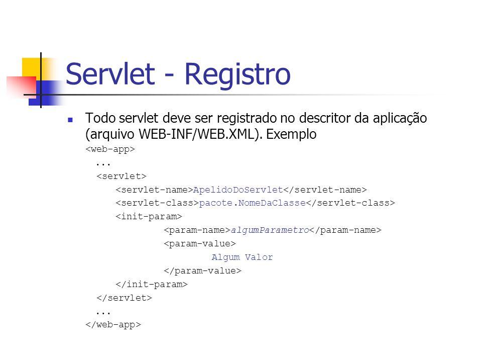Servlet - Registro Todo servlet deve ser registrado no descritor da aplicação (arquivo WEB-INF/WEB.XML). Exemplo.