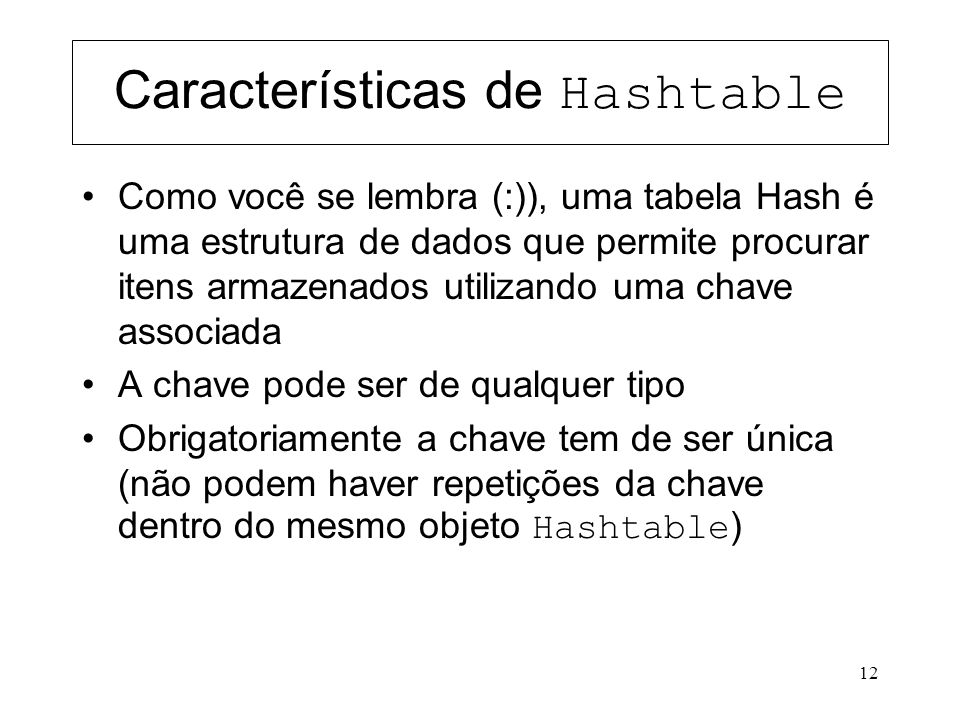 Características de Hashtable
