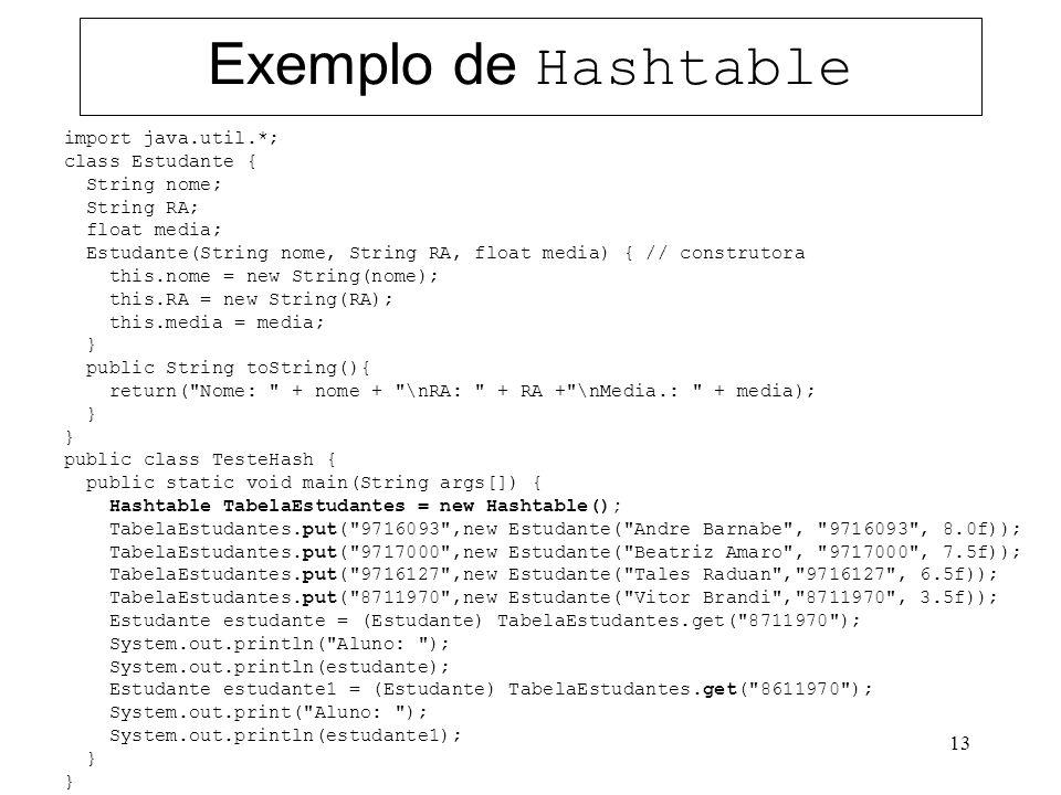 Exemplo de Hashtable import java.util.*; class Estudante {