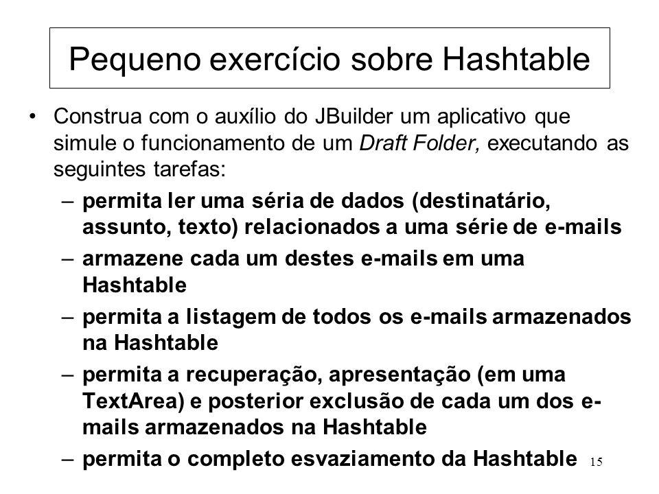 Pequeno exercício sobre Hashtable