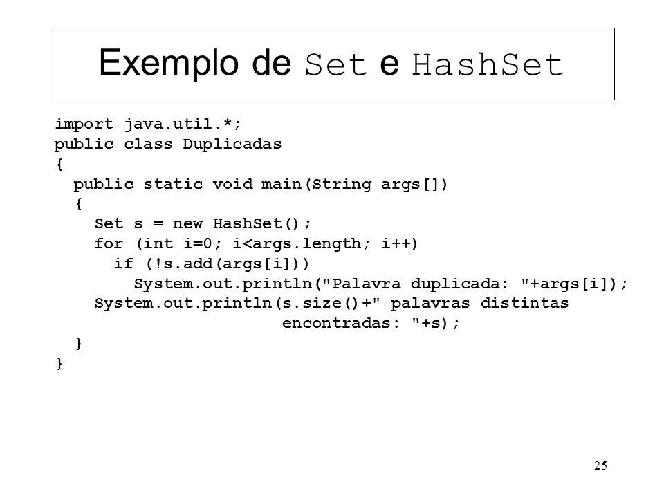 Exemplo de Set e HashSet