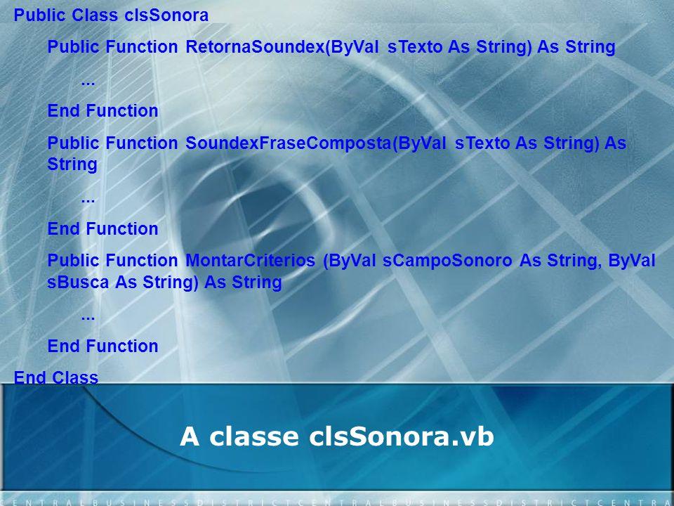 A classe clsSonora.vb Public Class clsSonora