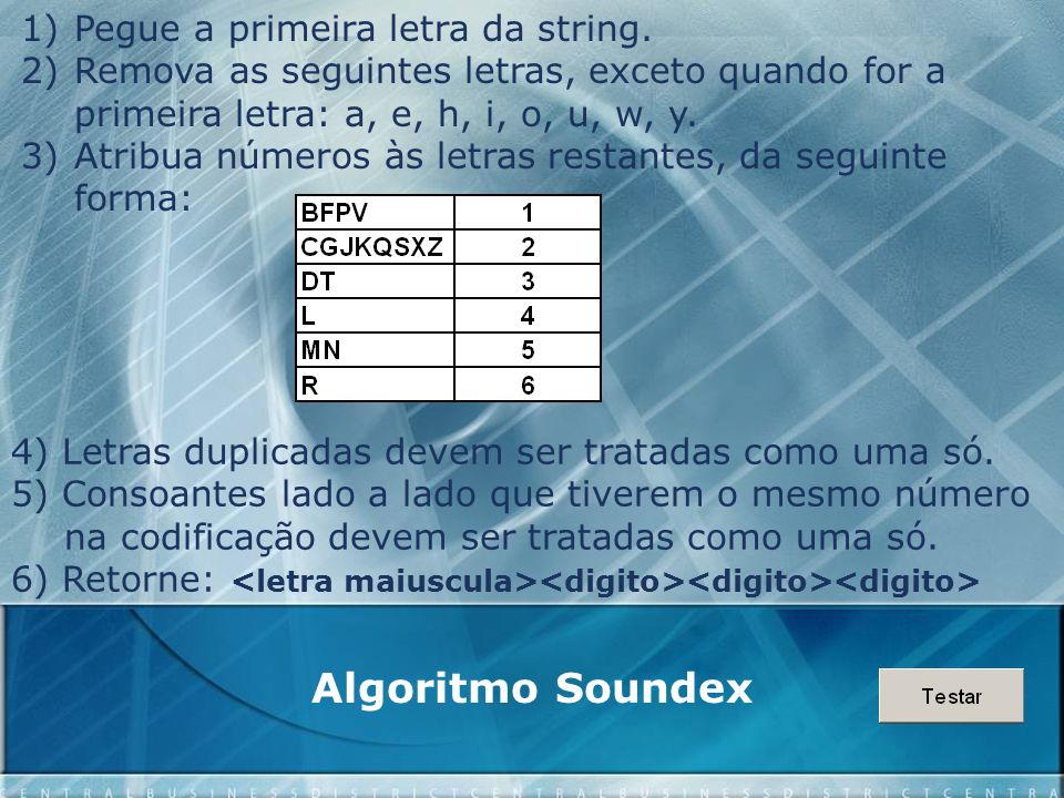 Algoritmo Soundex Pegue a primeira letra da string.