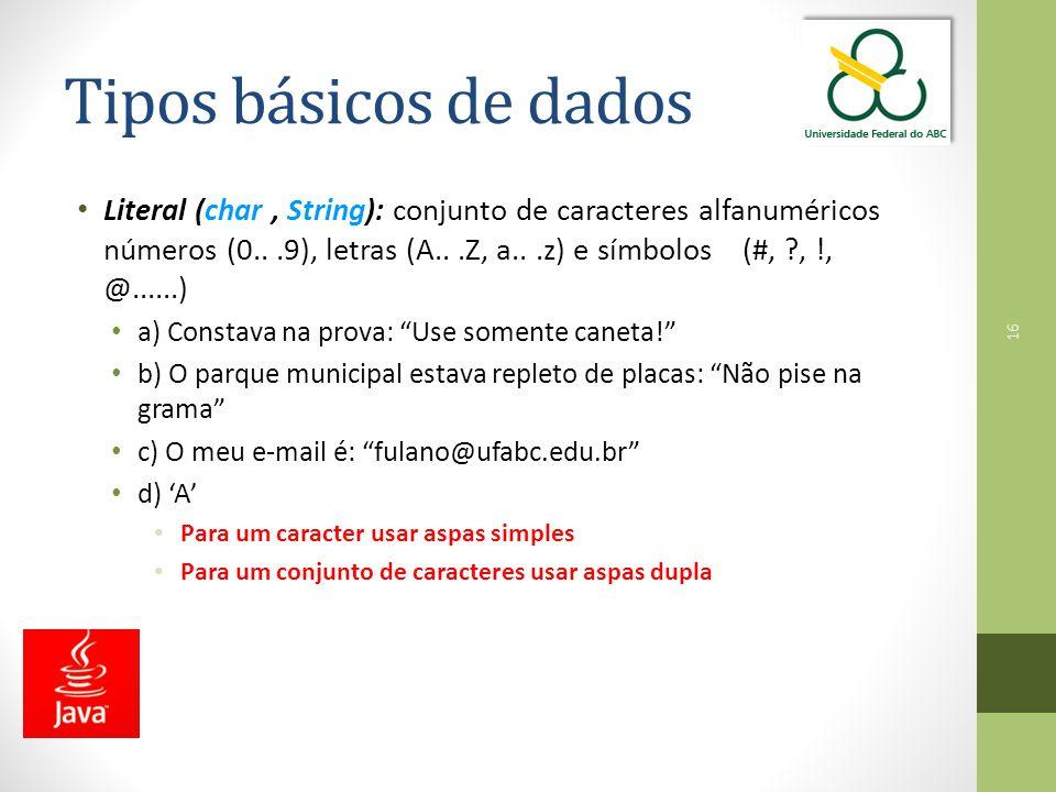 Tipos básicos de dados