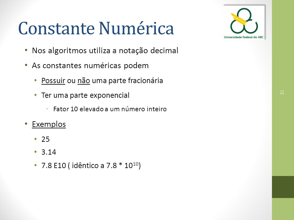 Constante Numérica Nos algoritmos utiliza a notação decimal