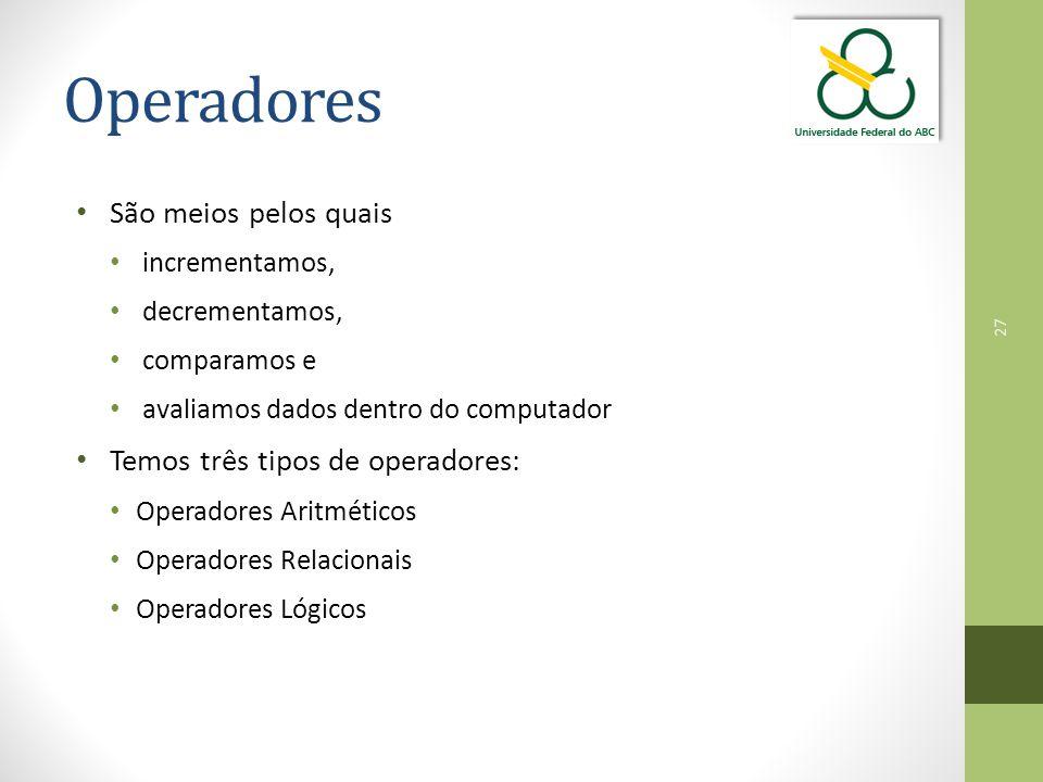 Operadores São meios pelos quais Temos três tipos de operadores: