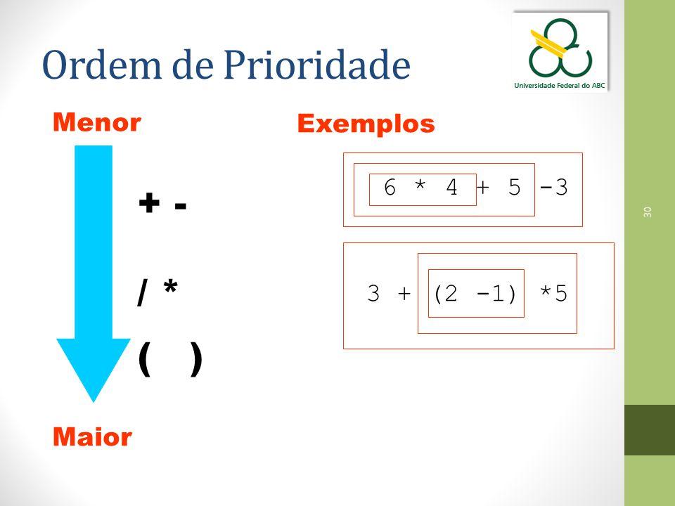 Ordem de Prioridade + - / * ( ) Menor Exemplos 6 * 4 + 5 -3