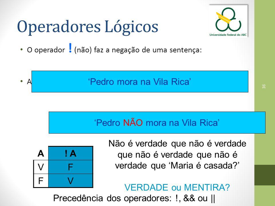 Operadores Lógicos 'Pedro mora na Vila Rica'