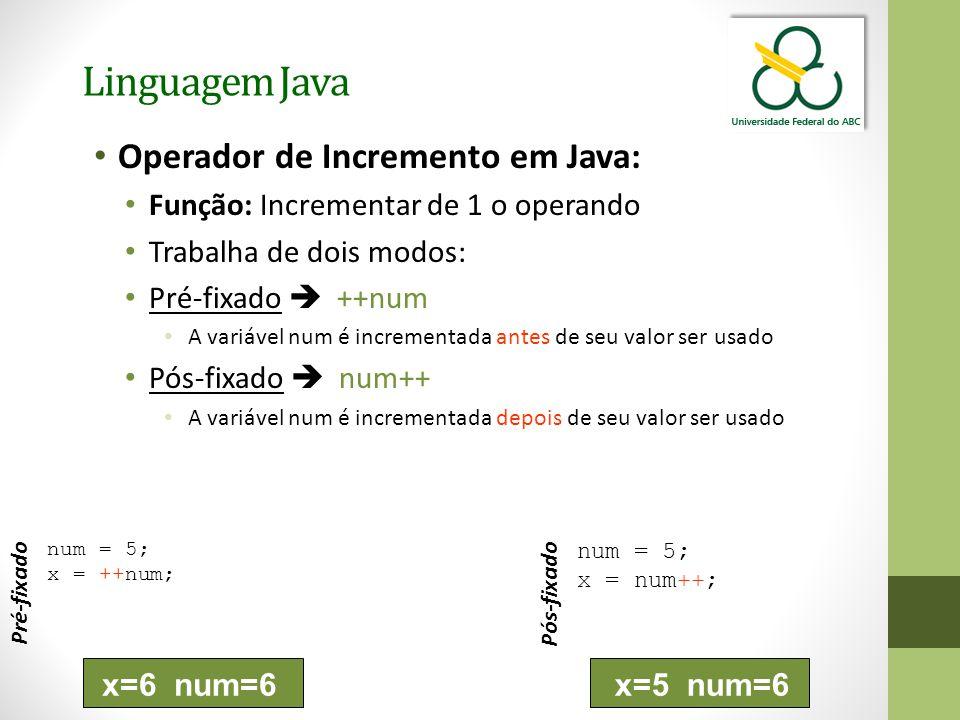 Linguagem Java Operador de Incremento em Java: