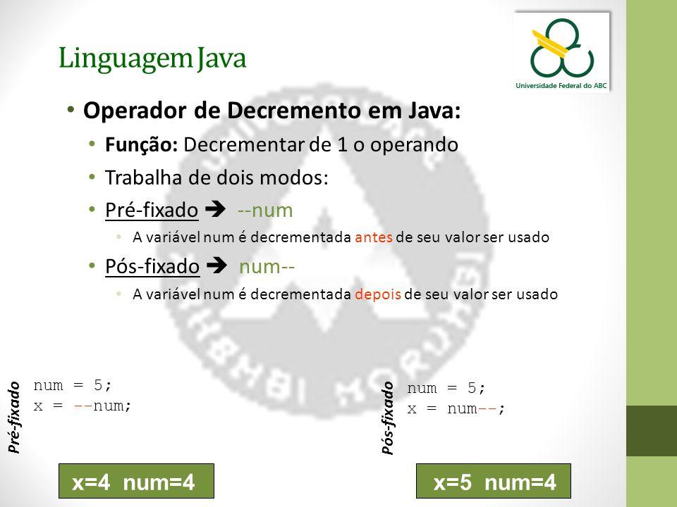 Linguagem Java Operador de Decremento em Java: