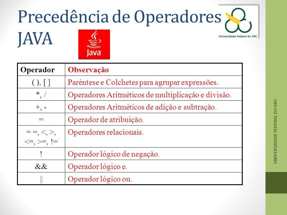Precedência de Operadores JAVA
