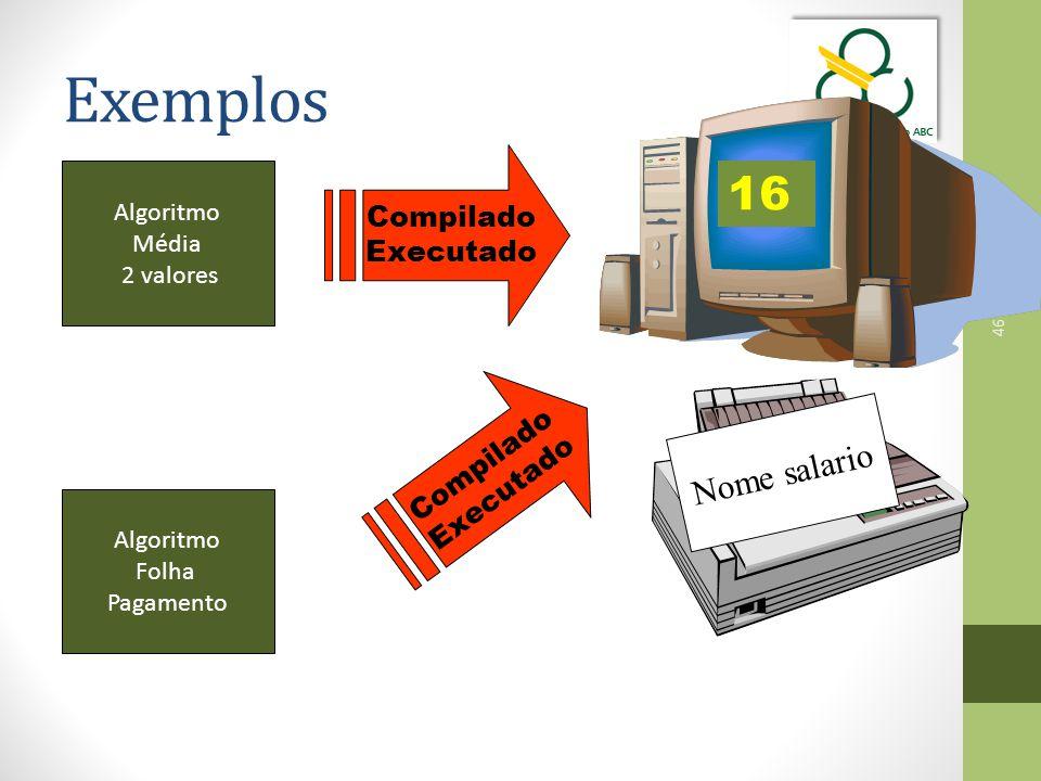 Exemplos 16 Nome salario Compilado Executado Compilado Executado