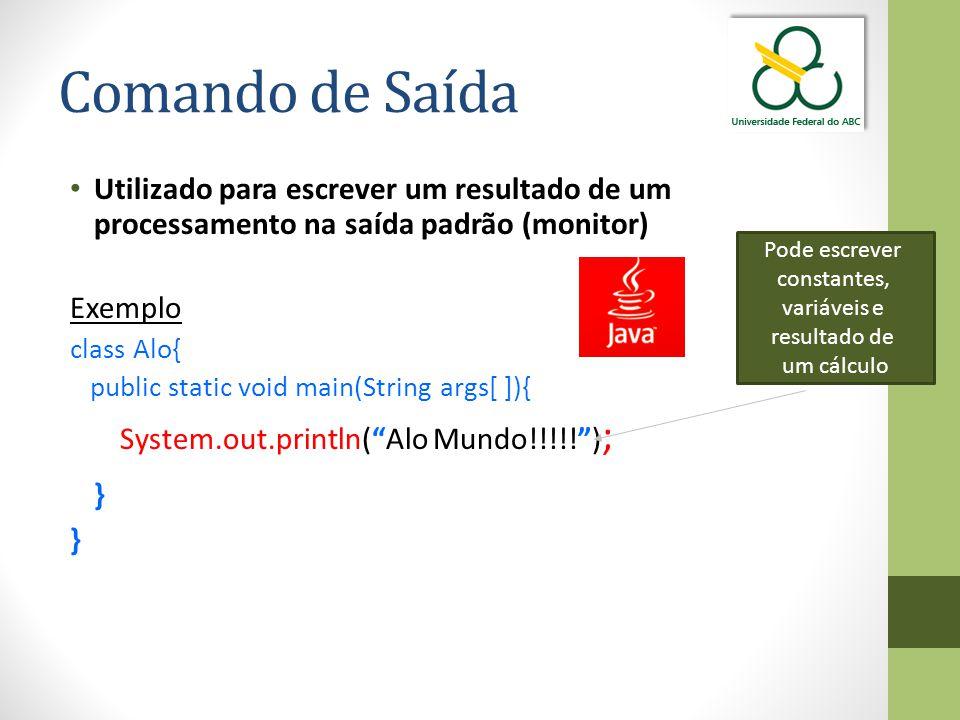 Comando de Saída Utilizado para escrever um resultado de um processamento na saída padrão (monitor)