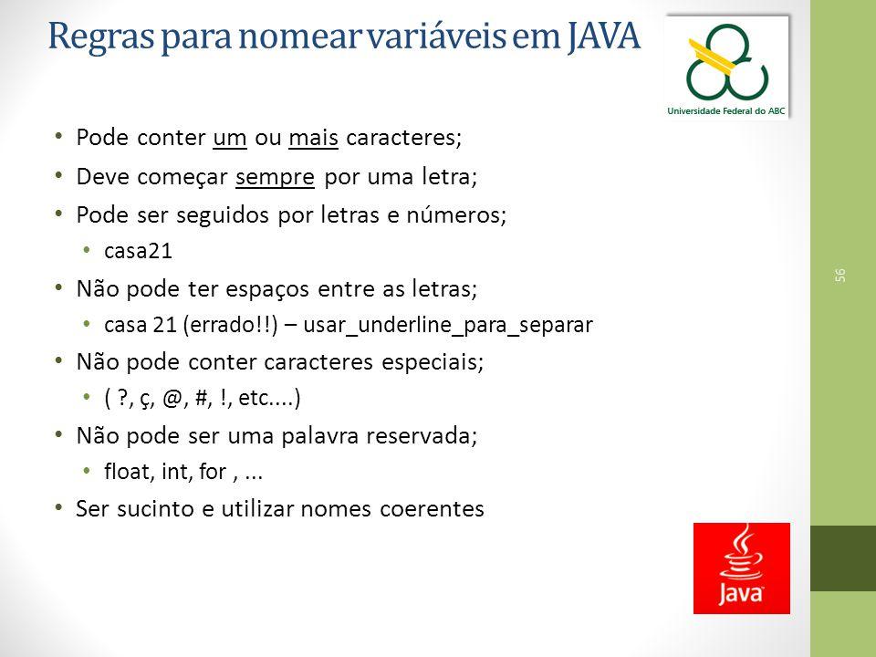 Regras para nomear variáveis em JAVA