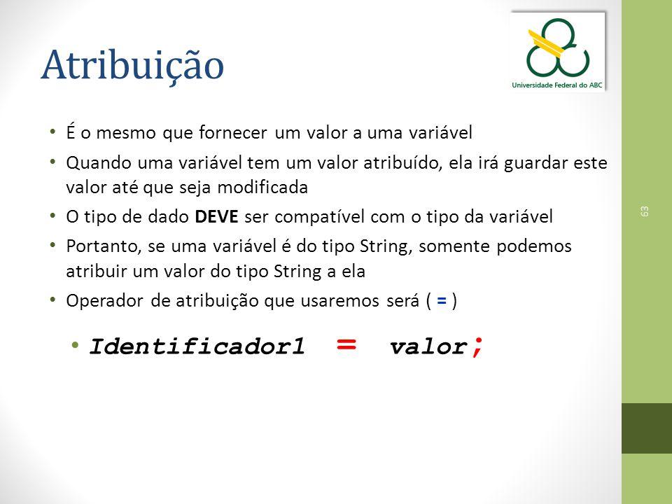Atribuição Identificador1 = valor;
