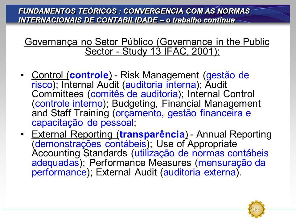 FUNDAMENTOS TEÓRICOS : CONVERGENCIA COM AS NORMAS INTERNACIONAIS DE CONTABILIDADE – o trabalho continua