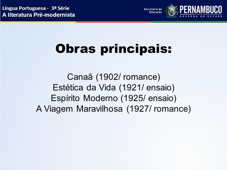 Obras principais: Canaã (1902/ romance)