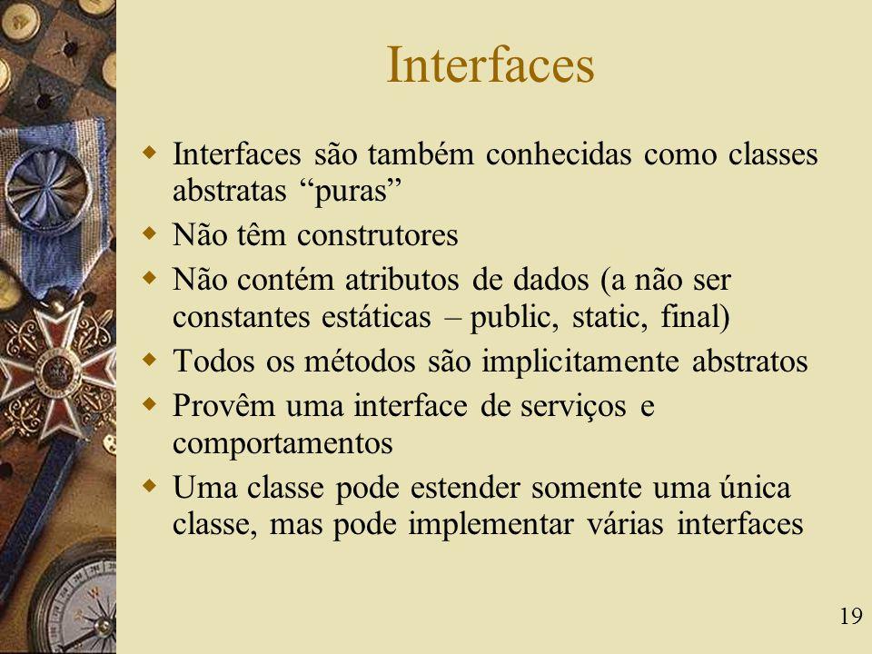 Interfaces Interfaces são também conhecidas como classes abstratas puras Não têm construtores.