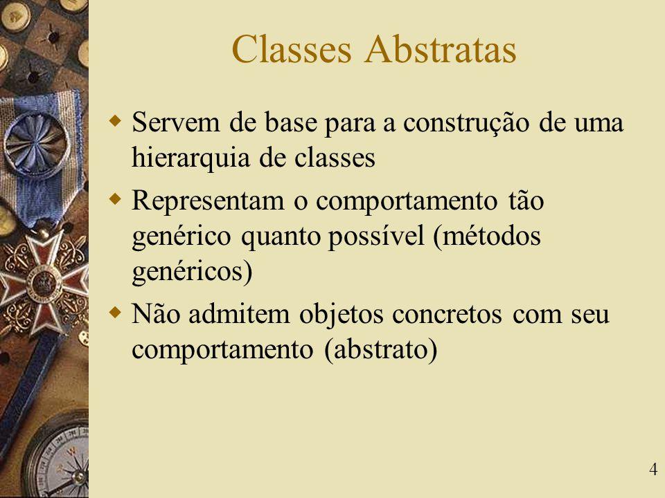 Classes Abstratas Servem de base para a construção de uma hierarquia de classes.