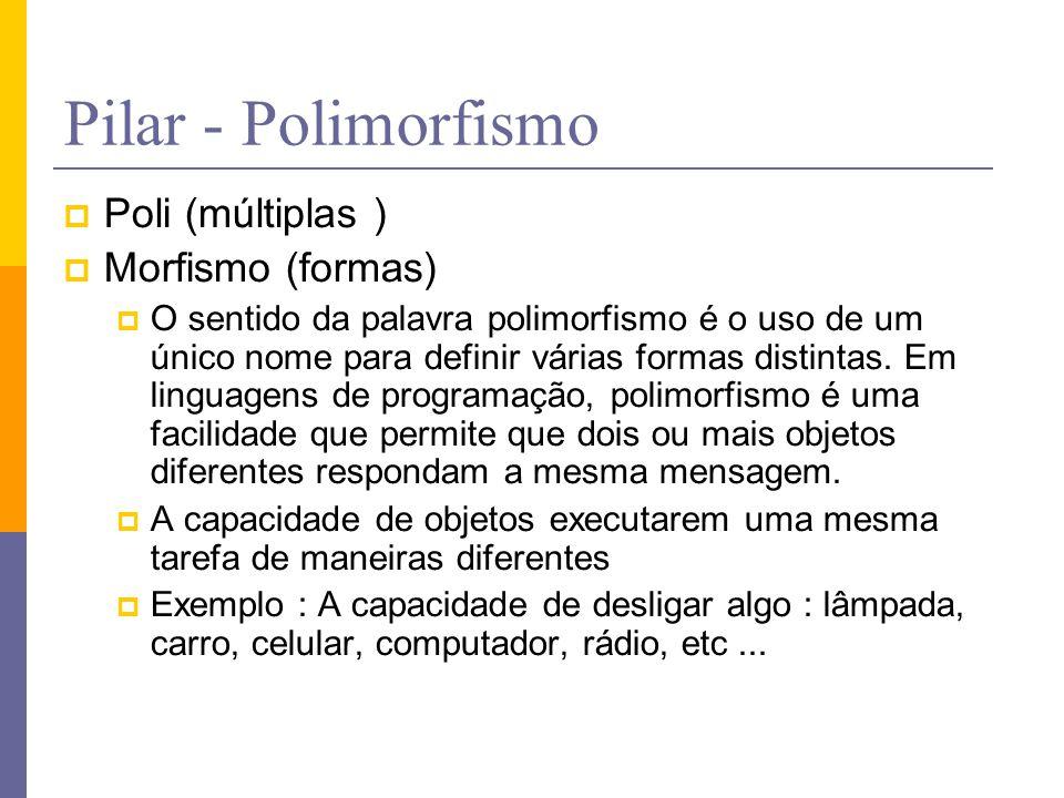 Pilar - Polimorfismo Poli (múltiplas ) Morfismo (formas)