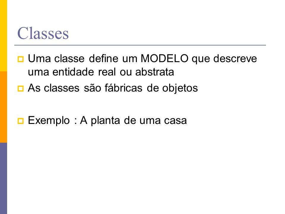 Classes Uma classe define um MODELO que descreve uma entidade real ou abstrata. As classes são fábricas de objetos.