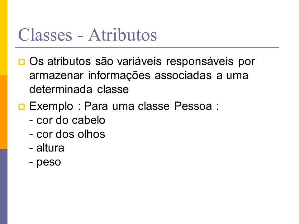 Classes - Atributos Os atributos são variáveis responsáveis por armazenar informações associadas a uma determinada classe.