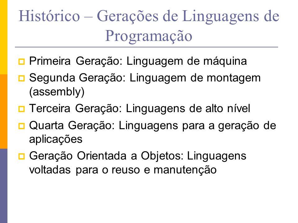 Histórico – Gerações de Linguagens de Programação