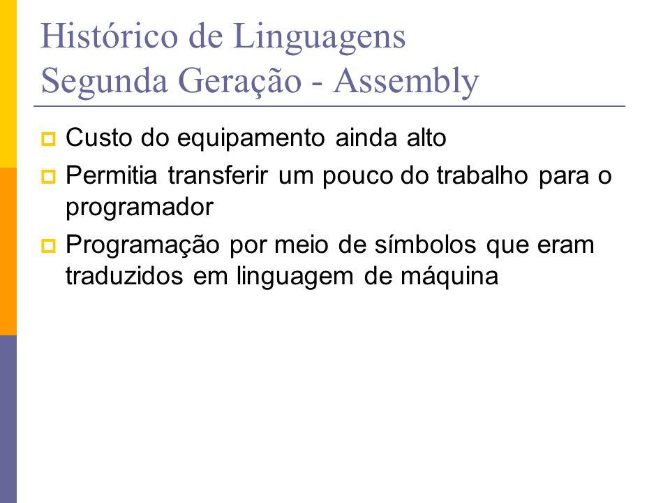 Histórico de Linguagens Segunda Geração - Assembly