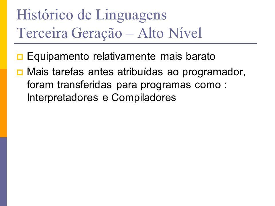 Histórico de Linguagens Terceira Geração – Alto Nível