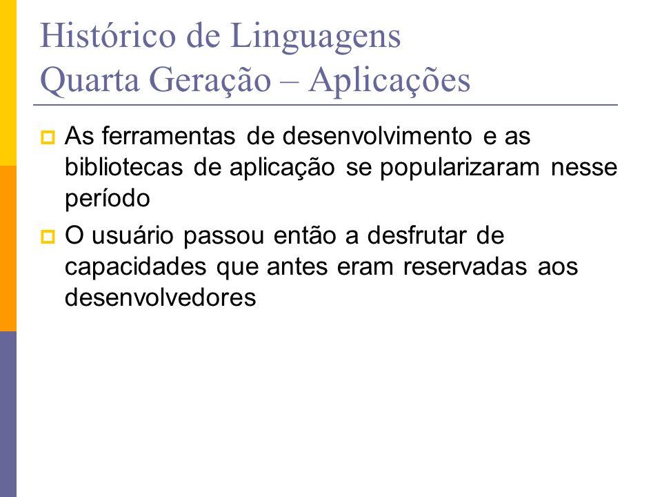 Histórico de Linguagens Quarta Geração – Aplicações