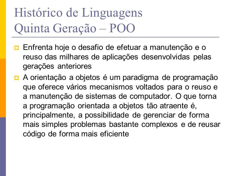 Histórico de Linguagens Quinta Geração – POO