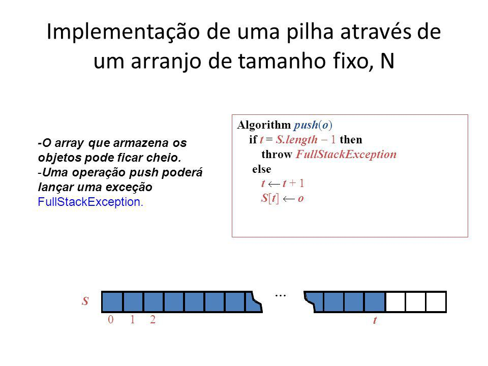 Implementação de uma pilha através de um arranjo de tamanho fixo, N