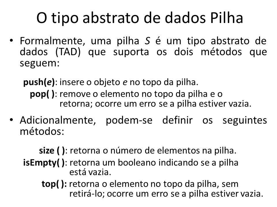 O tipo abstrato de dados Pilha