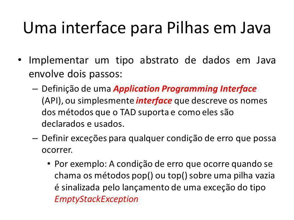 Uma interface para Pilhas em Java