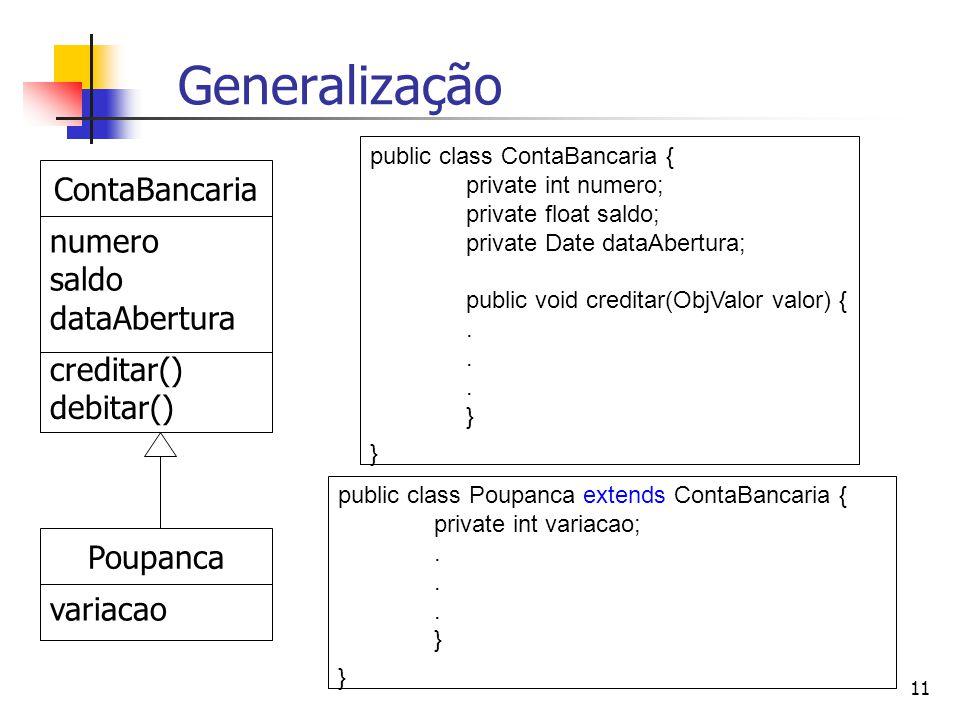 Generalização ContaBancaria numero saldo dataAbertura creditar()