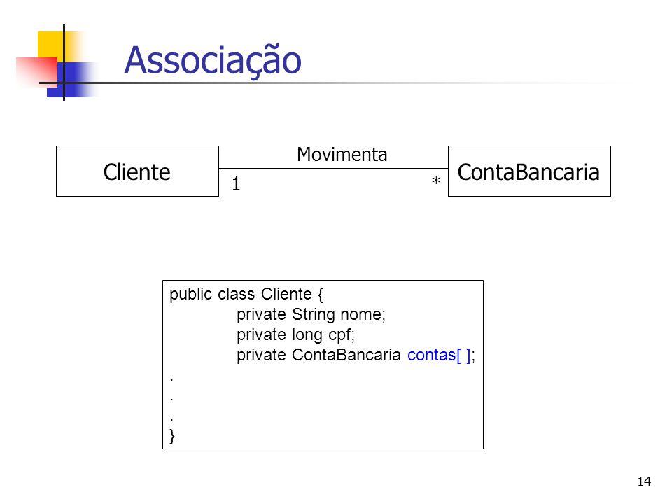 Associação Cliente ContaBancaria Movimenta 1 * public class Cliente {
