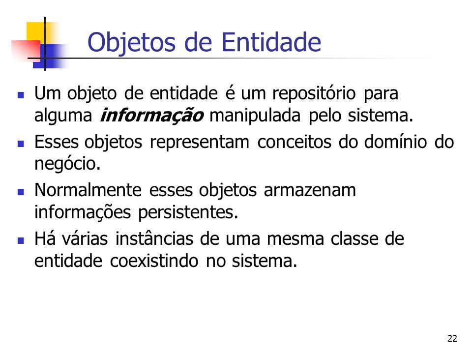 Objetos de Entidade Um objeto de entidade é um repositório para alguma informação manipulada pelo sistema.
